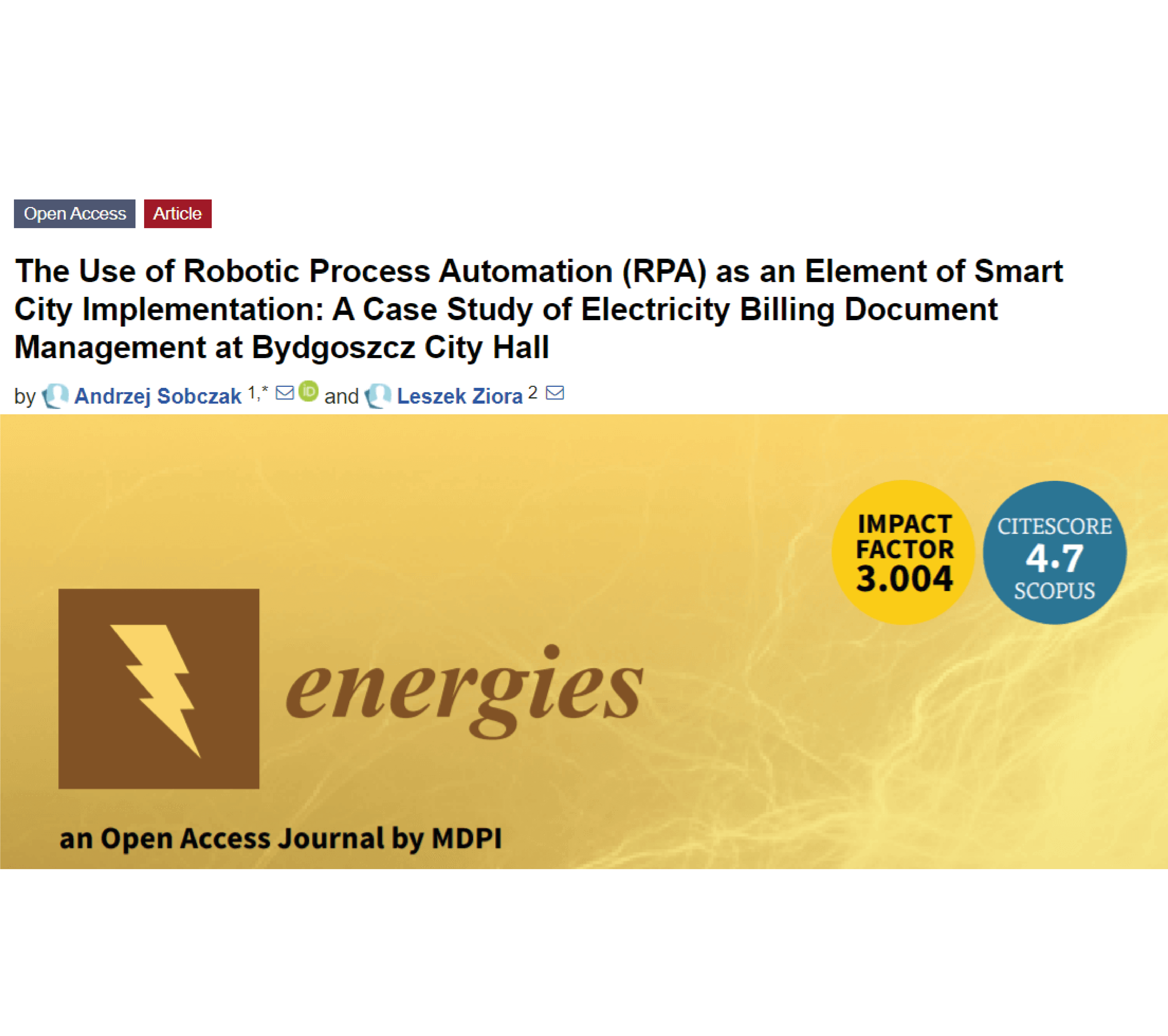 Read more about the article Użycie technologii Robotic Process Automation (RPA) jako elementu wdrożenia Smart City